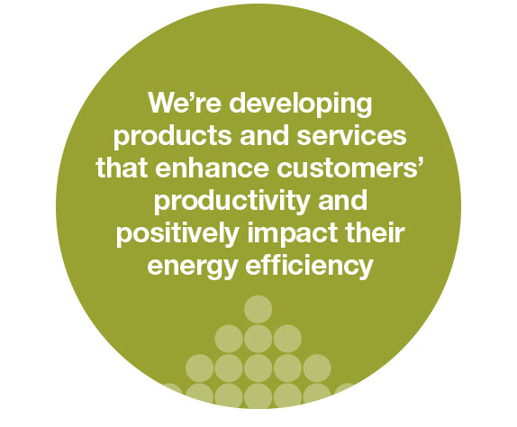 we are developing products and services that enhance customers productivity and positively impact their energy efficiency